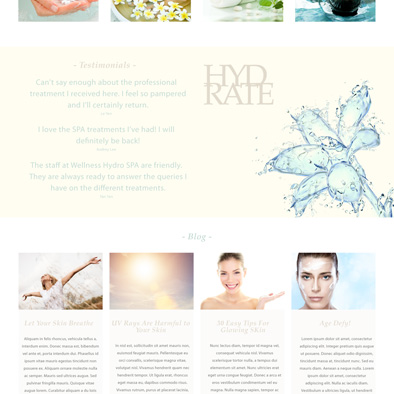 wellness hydro spa website testimonials