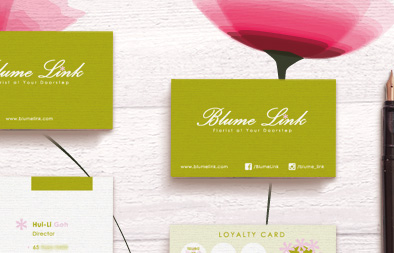 Name Card, Loyalty Card and Trade Dress for Blume Link