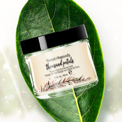 forest rhapsody skincare product label thousand petals