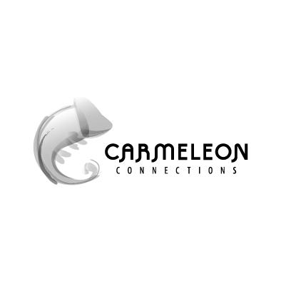 carmeleon connections logo chameleon greyscale