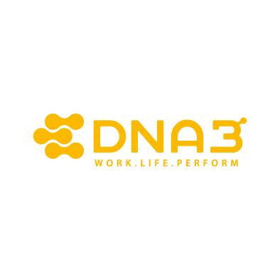 dna3 logo atom molecule medical yellow