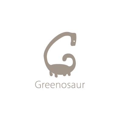 greenosaur logo g dinosaur beige