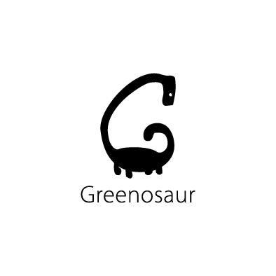 greenosaur logo g dinosaur black