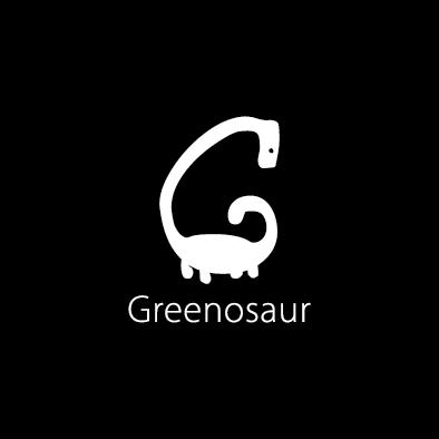 greenosaur logo g dinosaur white