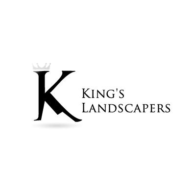 kings landscapers logo k crown mountain greyscale