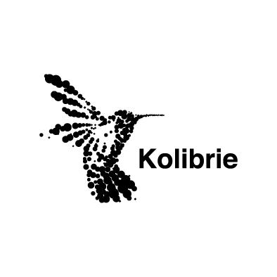 kolibrie logo hummingbird dots black