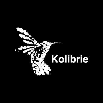kolibrie logo hummingbird dots white