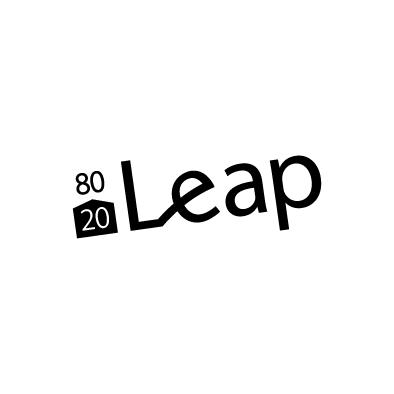 leap logo jump black
