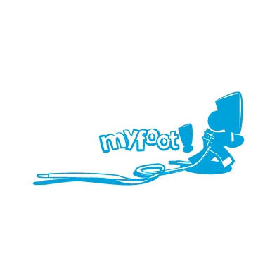 myfoot logo shoe skin lace run exclamation mark cyan
