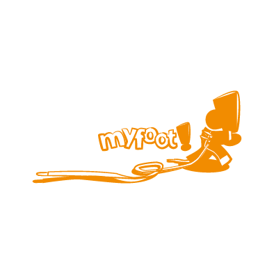myfoot logo shoe skin lace run exclamation mark orange