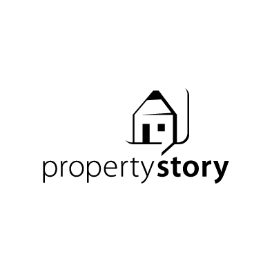 propertystory logo house pencil speech black