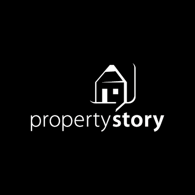 propertystory logo house pencil speech white