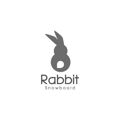 rabbit snowboard logo animal greyscale