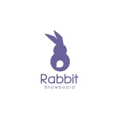 rabbit snowboard logo animal violet