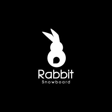 rabbit snowboard logo animal white