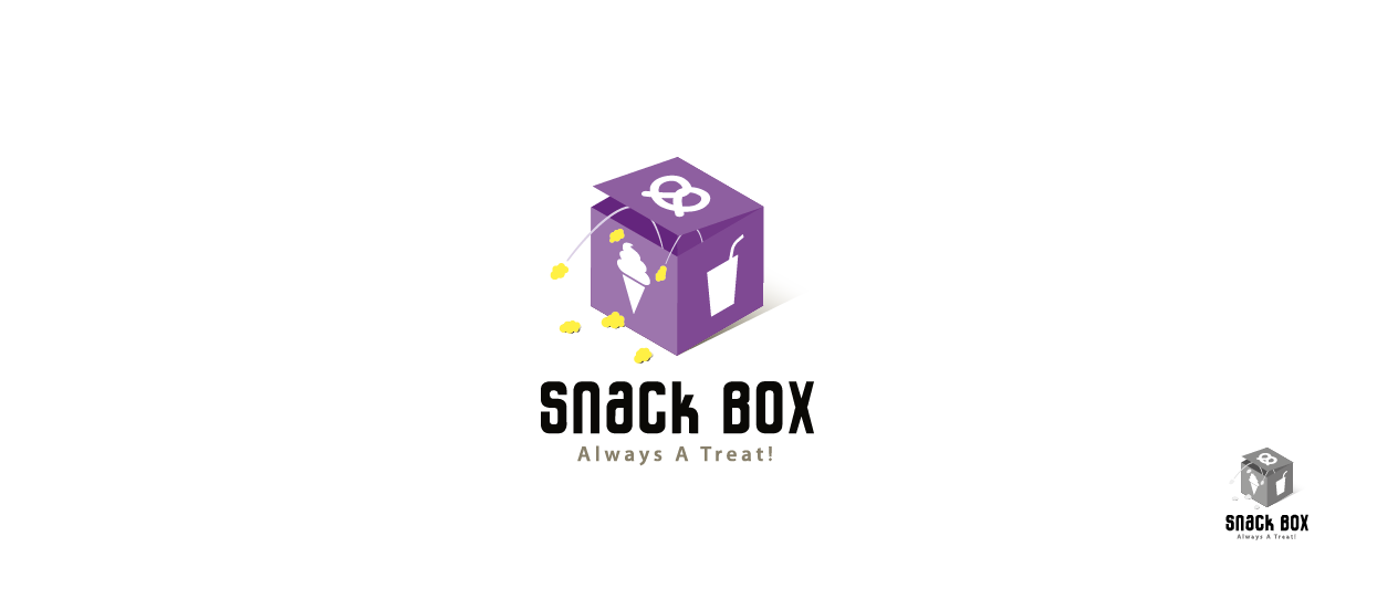 snack bar logo design slogan box