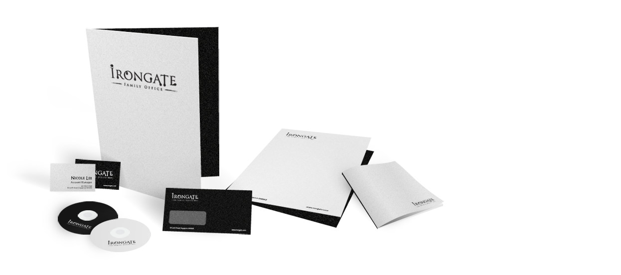 corporate stationery design family office irongate