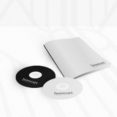 irongate brand identity cd cover notebook
