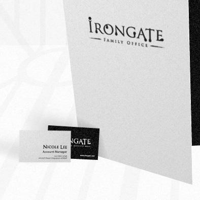 irongate brand identity corporate folder business card