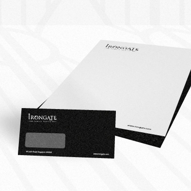 irongate brand identity dl envelope letterhead