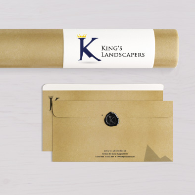 kings landscapers brand identity document tube holder landscape envelope