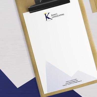 kings landscapers brand identity letterhead