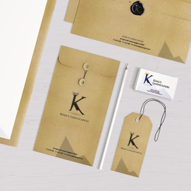 kings landscapers brand identity portrait envelope business card label