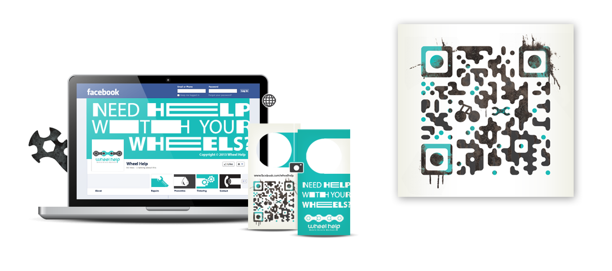 social media marketing name card qr code design wheelhelp
