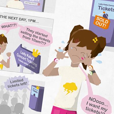 S U R E comic strip illustration character design concert ticket