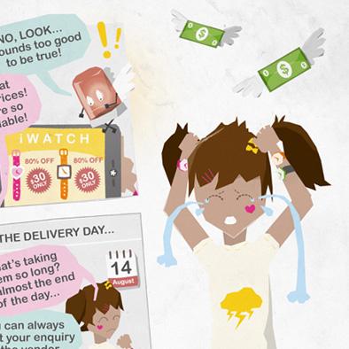 S U R E comic strip illustration character design fraud watch