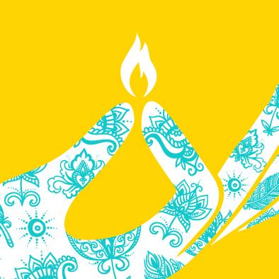 diwali deepavali greeting card hand light