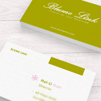blume link florist brand identity name card