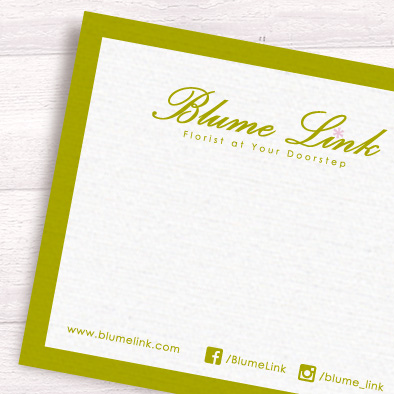 blume link florist trade dress message card