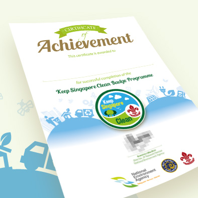 nea keep singapore clean badge programme certificate design