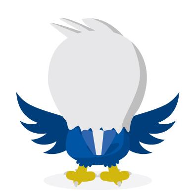 ethoz brand mascot eagle back view
