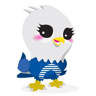 ethoz brand mascot eagle thumbs up
