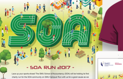 SMU School of Accountancy Run 2017 Campaign Poster, EDM and T-shirt Design