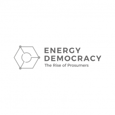 energy democracy logo hexagon circle grid greyscale