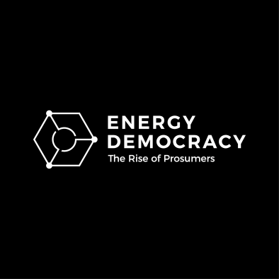 energy democracy logo hexagon circle grid white