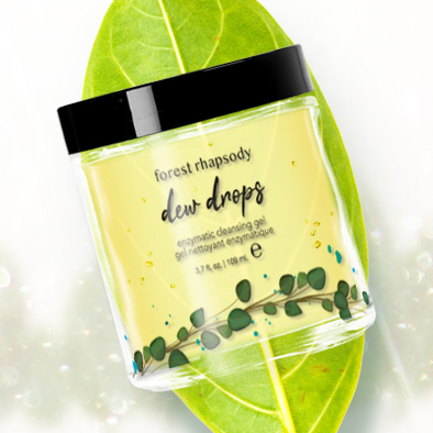 forest rhapsody skincare product label dew drops