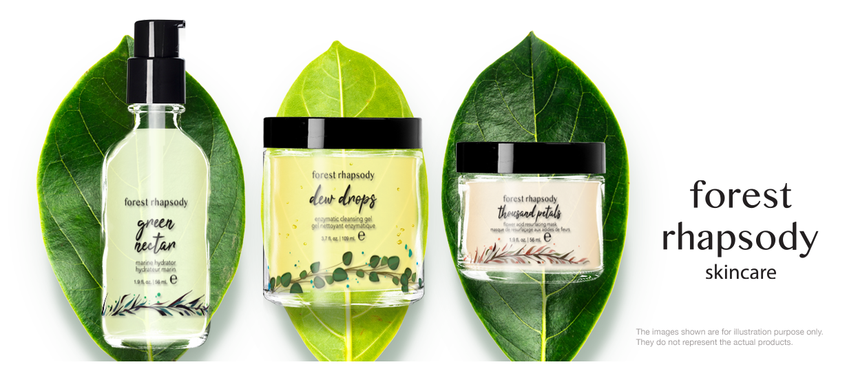 skincare product label design forest rhapsody