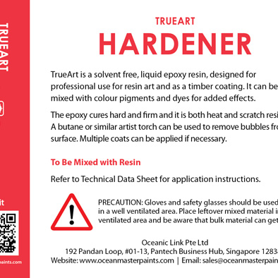 trueart resin hardener back label design