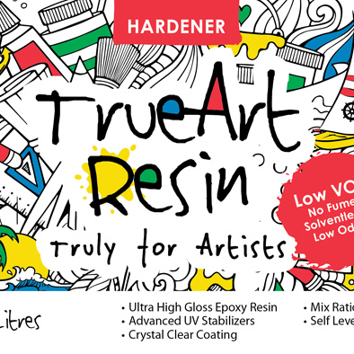 trueart resin hardener front label design