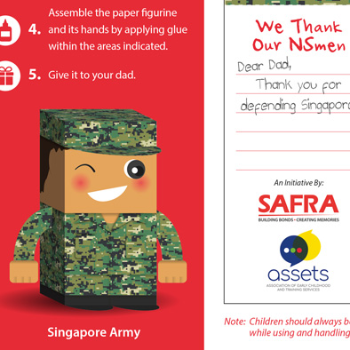 safra foldable paper figurine singapore army 3d