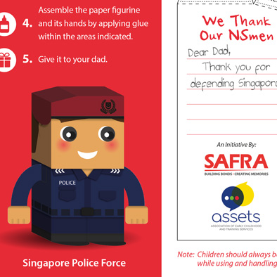 safra foldable paper figurine singapore police force 3d