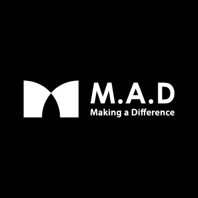 mad financial company logo m a d white horizontal slogan