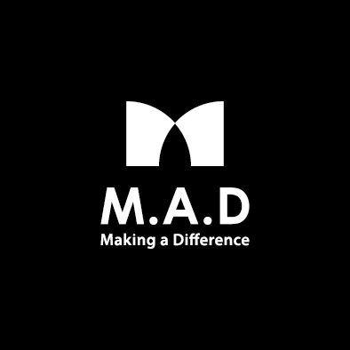 mad financial company logo m a d white vertical slogan